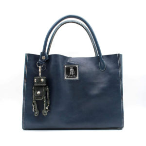 Robotty 100% genuine leather blue handbag blue & Robotty key ring ( blue )