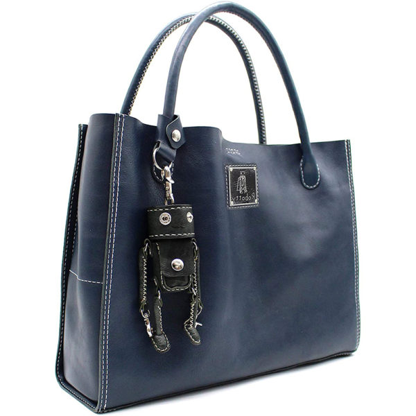 key ring genuine leather bag hand bag blue keyring gift present 2