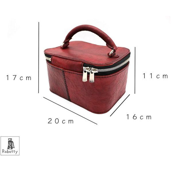 robotty gift present ladies handbag bag red genuine leather square ponyleather 1