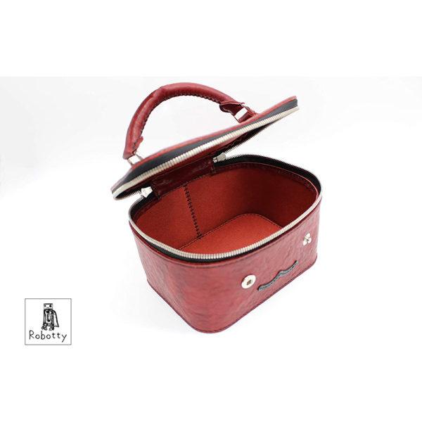 robotty gift present ladies handbag bag red genuine leather square ponyleather 3