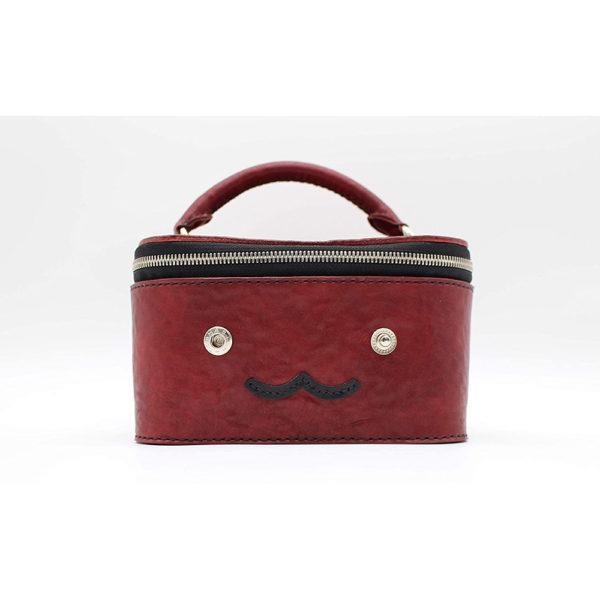 robotty gift present ladies handbag bag red genuine leather square ponyleather 8