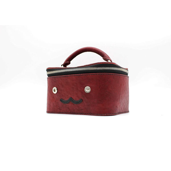 robotty gift present ladies handbag bag red genuine leather square ponyleather 9