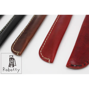 Robotty 100% genuine leather pen case single fountain pen case / pen pouch ( Black / Red )