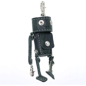 Robotty Bag Key ring Blue Genuine leather ( Pony leather )