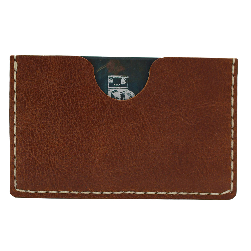 robotty robot genuine leather card businesscard holder accessory brown 8 1